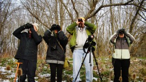 people with binoculars