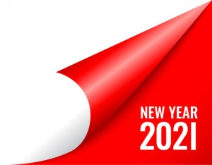 2021 new year coming soon, curled calendar page on red background