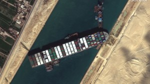 An aerial view of the giant ship carrying over 18,000 containers that got stuck in the Suez Canal, It was syymboliic of the current problems in the realm of world shipping.